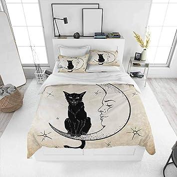 Black Cat Crescent Moon Bedding Set All Size