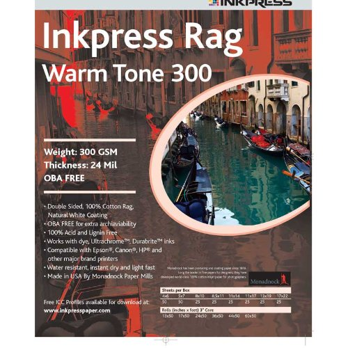 (Inkpress Rag, Warm Tone Double Sided, Cream White Matte Inkjet Paper, 23 mil., 300gsm, 17x22