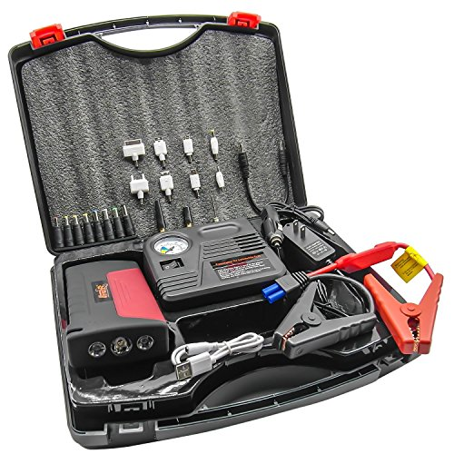 2015 Newest HyperPS 15000mah Multi-function Vehicle Car Jump Starter Portable Power Bank Emergency Kit with LED Torch Flashlight, Survival Hammer & Blade + 150 PSI Air Compressor Tire Pump