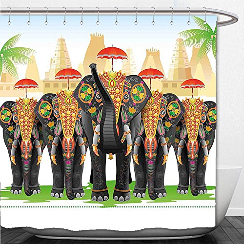 Diy Finding Nemo Costume (Beshowere Shower Curtain Ethnic Elephants in Traditional Costumes with Umbrellas Indian Ceremony Ritual Graphic Multicolor)