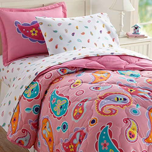 (Wildkin 5 Piece Twin Bed-in-A-Bag, 100% Microfiber Bedding Set, Olive Kids Design - Paisley)