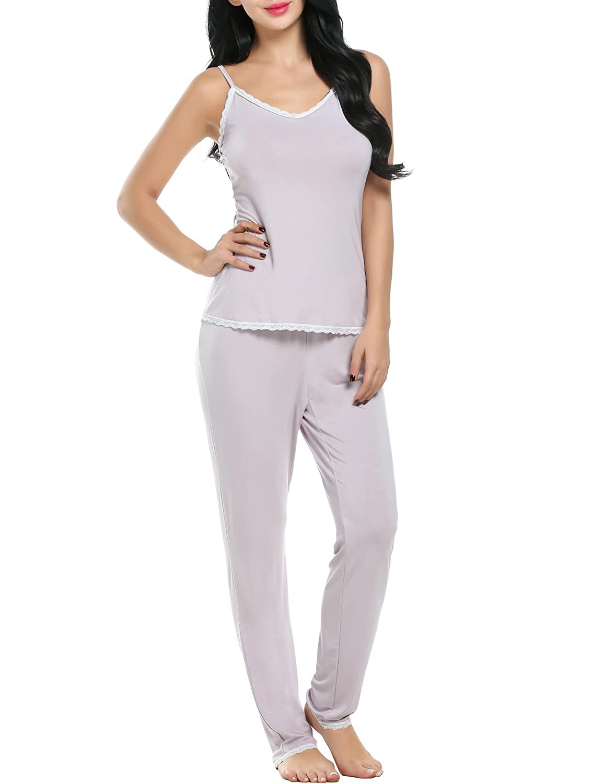 Aimado Pajama Sets Womens V-neck Slip Sleepwear Cami Top and Pants 2 Pcs Lace Nighty S-XL