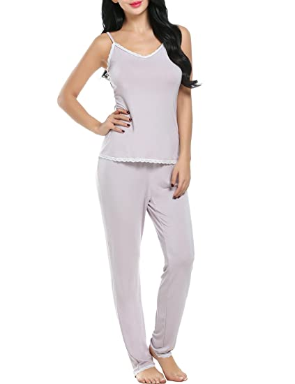 a6f15233d4 Aimado Sleepwear Sets for Women Lace Trim Tops and Pants Loose Nightwear  (Apricot