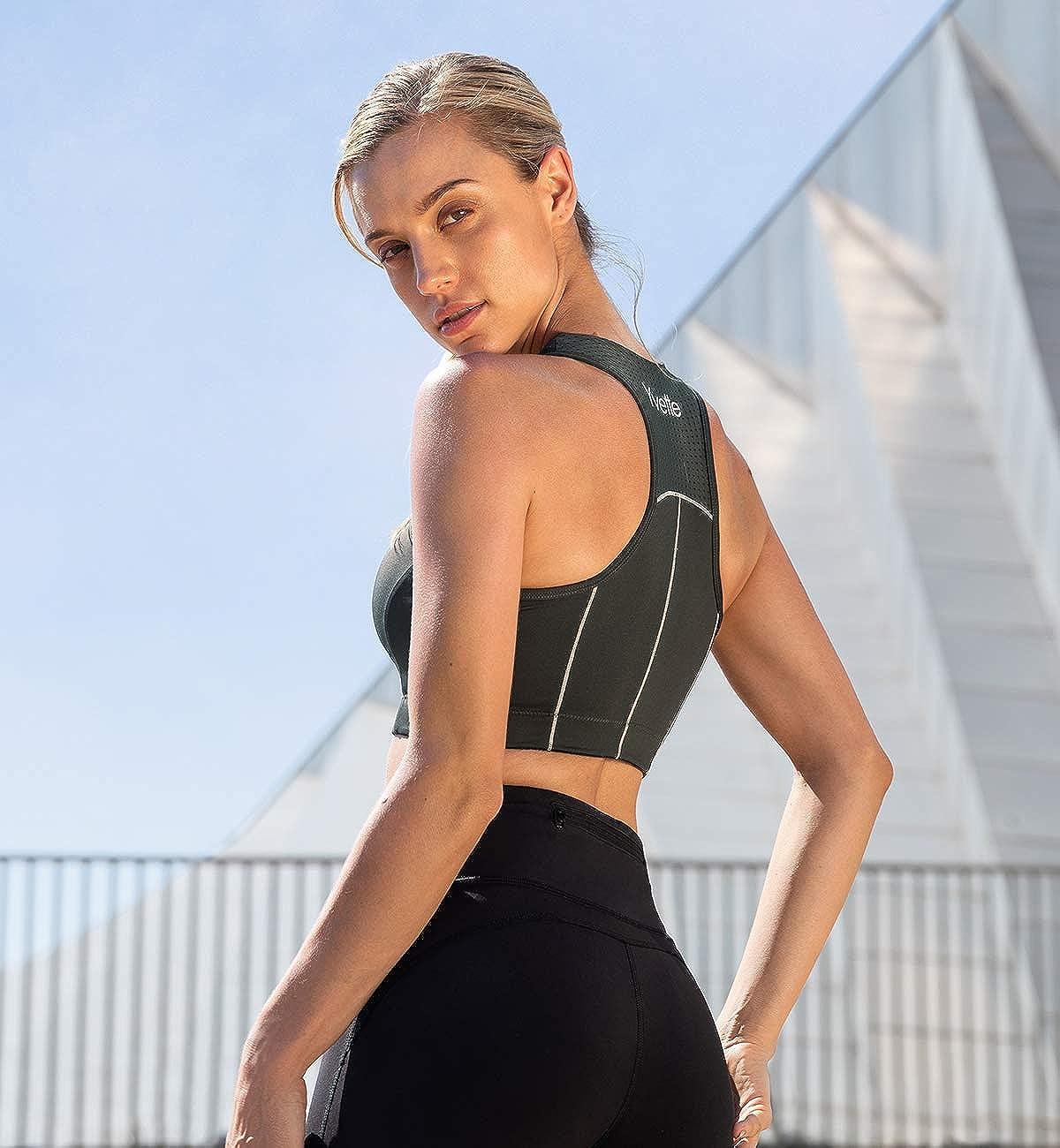 Yvette Womens Zip Front High Impact Sports Bra Breathable Racerback