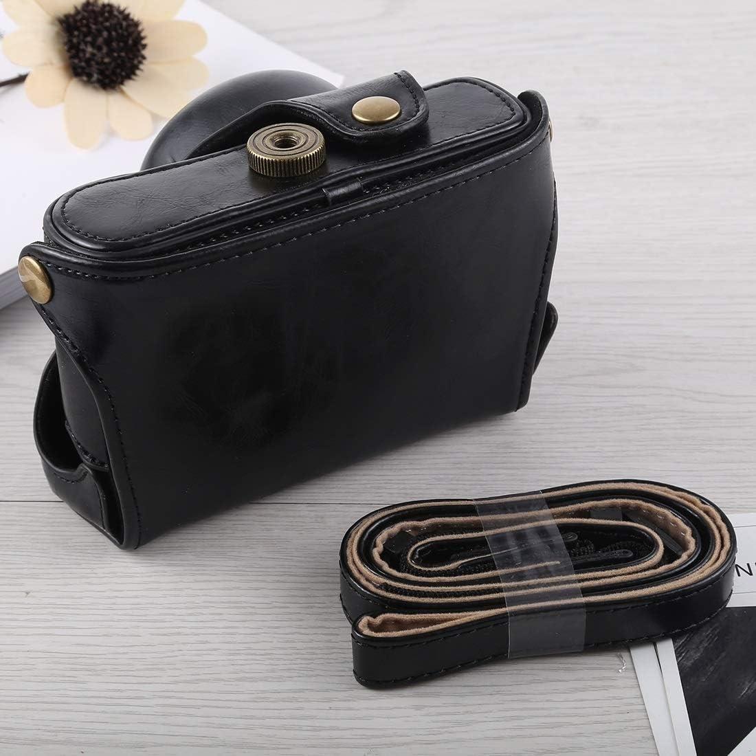 Ychaoya Camera Bag Wuzpx Entire Body Camera PU Leather Case Bag with Strap for Fujifilm X100F Color : Coffee Black