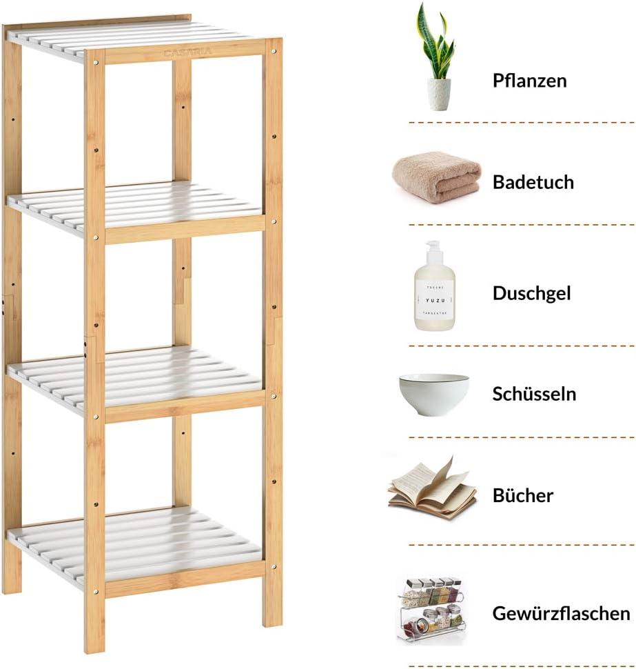 Casaria Estanter/ía de bamb/ú para ba/ño Cocina librer/ía con 3 4 o 5 estantes almacenaje Blanco 80//110//140x33x34cm Natural