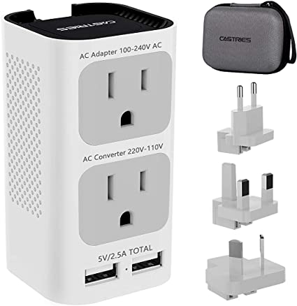 Castries Voltage Converter Travel Adapter Combo 2020 Upgraded Travel Converter Power Step Down 220V to 110V with 2 USB Port and EU//UK//AU//US Plug International Power Adapter for Over 200 Countries