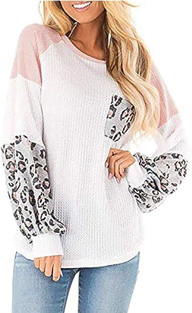 Camisa Mujer Elegante, LANSKIRT Camisetas de Punto Blusa con Costuras de Leopardo Jersey Suelto de Manga Larga con Bolsillo Estampado Suéter: Amazon.es: Ropa y accesorios