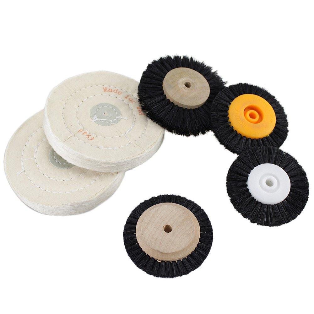 Earlywish Wood Cloth Hub Cepillo de rueda giratoria para joyerí a Limpieza dental Pulido pulido 6pcs