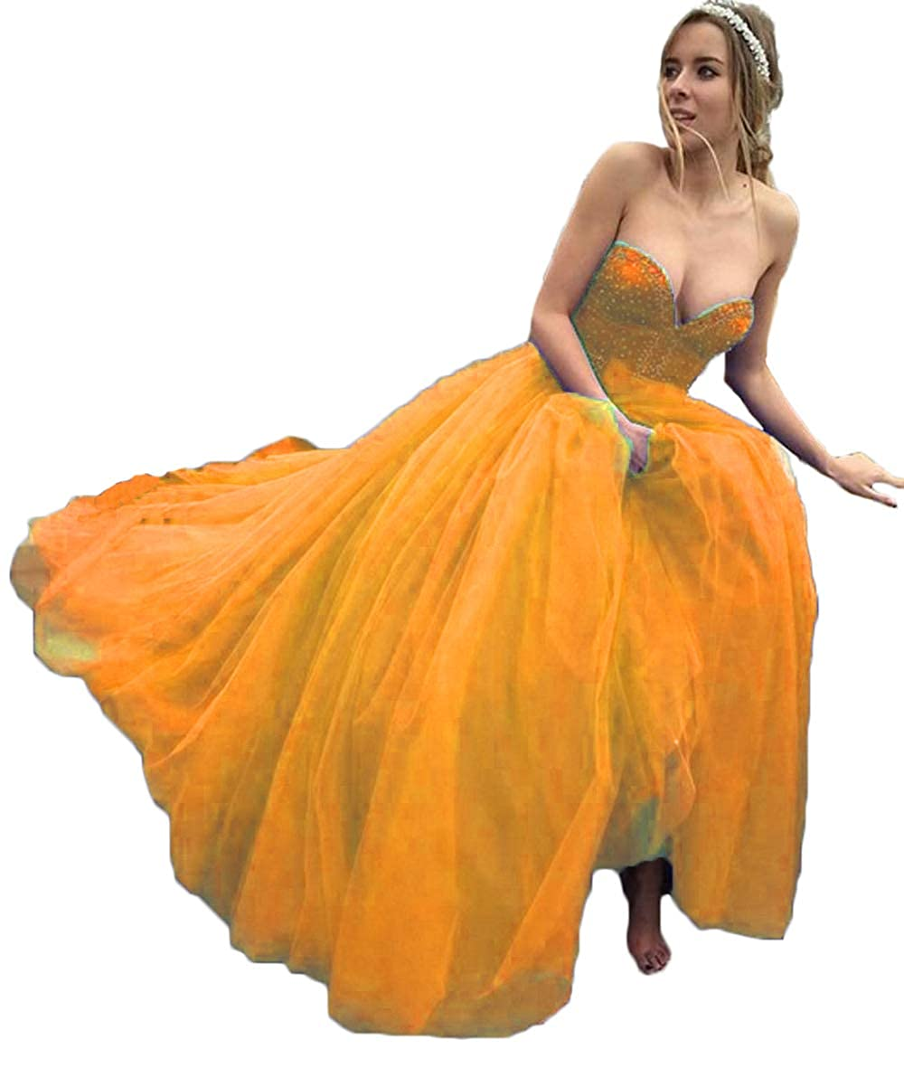 orange alilith.Z Sexy Sweetheart Prom Dresses Beaded Puffy Tulle Princess Quinceanera Dresses Party Gowns for Women