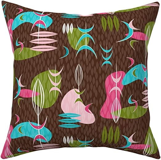 Boomerangs Retro Atomic Atomic Throw Pillow Cover w Optional Insert by Roostery