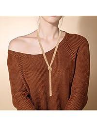 Women's Long Sweater Necklace Minimalist Lariat Pendant Necklace Christmas Knot Y Tassel Necklace