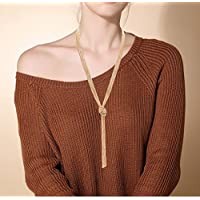 VUJANTIRY Women's Long Sweater Necklace Minimalist Lariat Necklace Knot Y Necklace