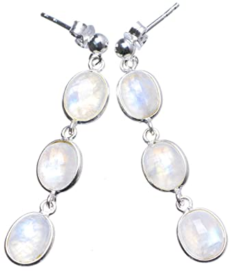 Rainbow moonstone sterling silver earrings - Stone size 6x8mm YYmrP0