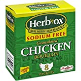 HERB-OX Bouillon - Instant Broth - Granulated - Seasoning - Chicken - Sodium Free - Gluten Free - 1 Box - 8 Packets - 1.2 Ounces