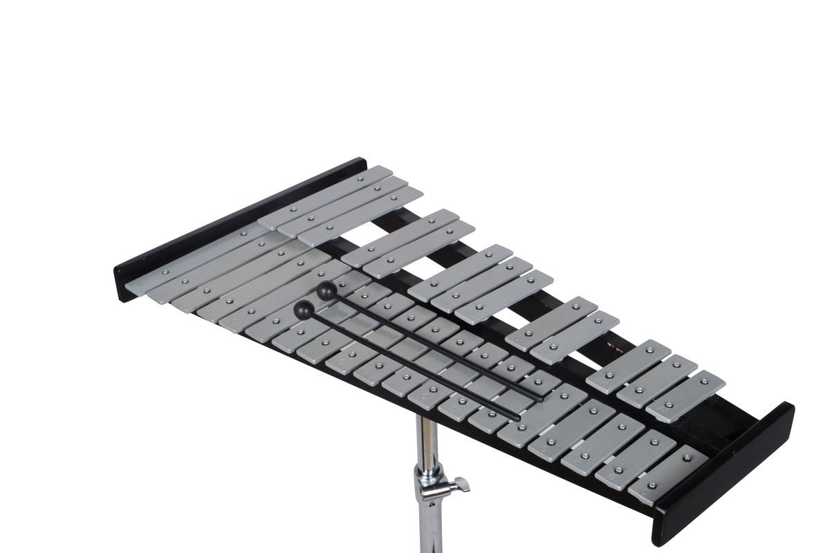 New 32 Note Glockenspiel Bell Kit W/Practice Pad +Mallets+Sticks+Stand+Carrying Case