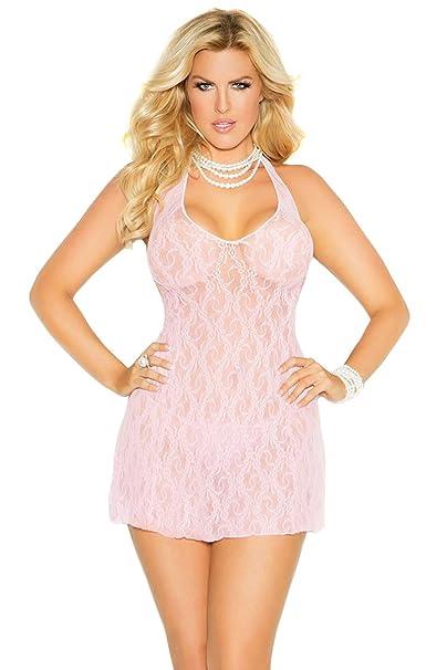 Emlingerie Plus Size Lingerie Sexy Light Pink Lace Halter Mini Dress