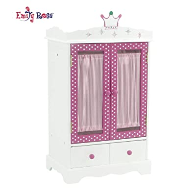 "18 Inch Doll Closet for My Life Doll Clothes - Wish Crown | Doll and Small Pet Clothes Storage | Doll 18"" Clothes Wardrobe 