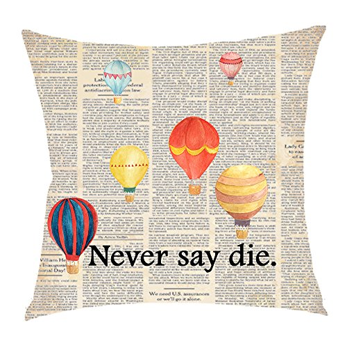 Retro newspaper Page dictionary wreath Saying Watercolor hot air balloon Never say die Cotton Linen Square Throw Waist Pillow Case Decorative Cushion Cover Pillowcase Sofa 18