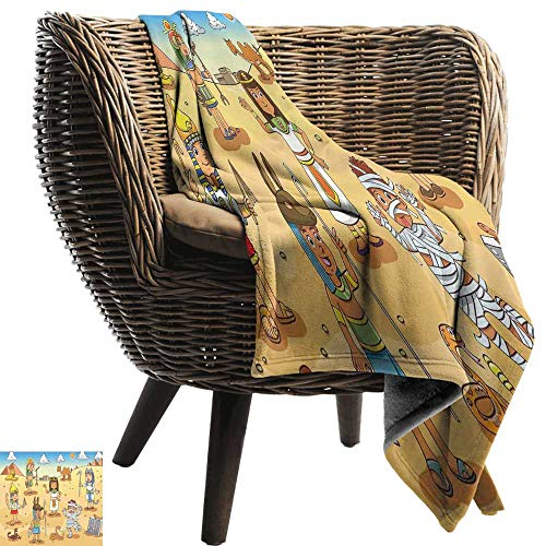 WinfreyDecor Cartoon Home Throw Blanket Historical Egypt Characters with Pyramids Cleopatra King Mummy Child Design Image Anti-Static Throw 60