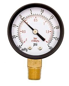 """2"""" Utility Vacuum Pressure Gauge, WOG, 1/4"""" NPT Lwr Mount, 30Hg/30PSI GSAD2012-V30UPD, OEM"""