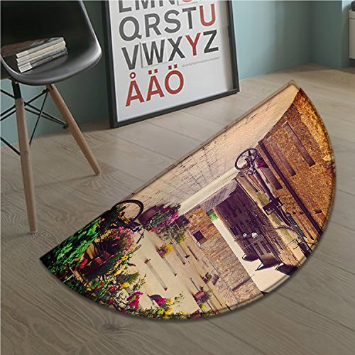 stevenhome Cityscape bath mats for floors Street in Pienza Tuscany Italy with Hanging Basket Plants Flowers Bicycles Picture door mat indoors Bathroom Mats Half Moon Non Slip Red Green (Outdoor Hanging Tuscany)