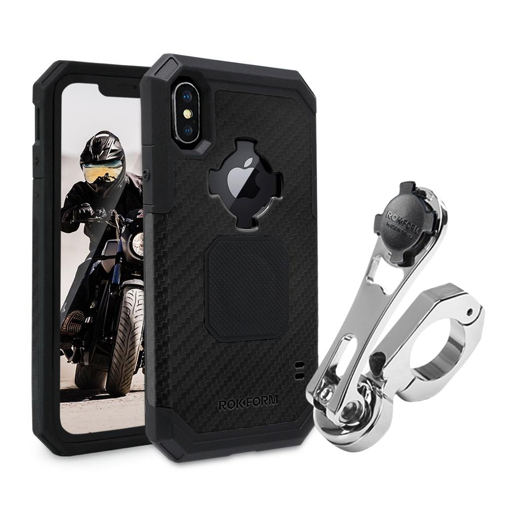 Rokform [iPhone 7 & 8 PLUS] Pro Series Motorcycle Mount kit and Rugged Case, CNC Machined Aluminum, twist lock and magnetic mounting (Polished)