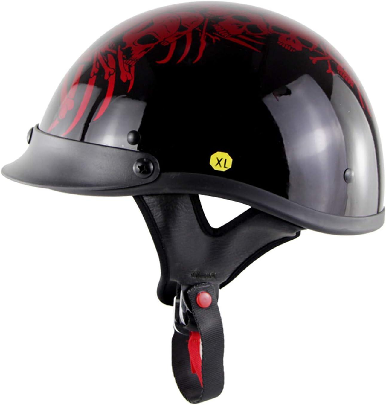retro half helmet Harley helmet cruiser scooter DOT approved for men and women half helmet,Red,M YLee Open motorcycle helmet