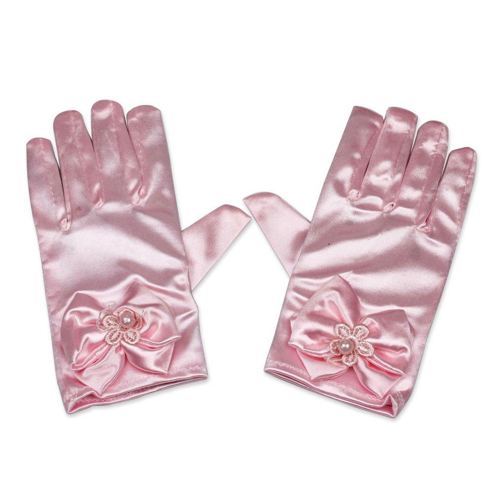 Satin Bow Gloves Wrist Length Kid Size For Girls