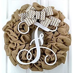 Burlap Letter Initial Monogram Front Door Wreath with White Chevron Bow; Wedding Gift 89
