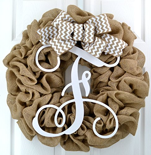 - Burlap Letter Initial Monogram Front Door Wreath with White Chevron Bow; Wedding Gift