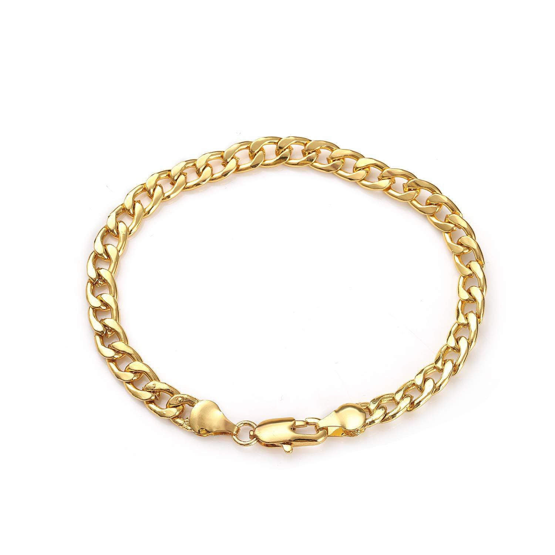 Daimay 18K vergoldete Armband Schmuck Mens Edelstahl Handgelenk Flacher Fischgräten Link - 6mm Breite - Gold