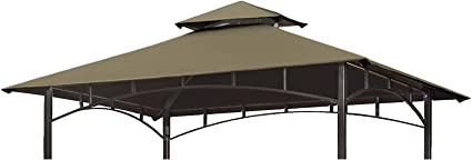 Eurmax 5ft X 8ft Double Tiered Replacement Canopy Grill Bbq Gazebo Roof Top Gazebo Replacement Canopy Roof Cocoa Garden Outdoor