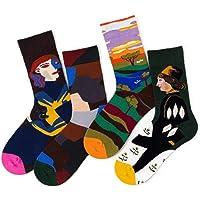 Chalier Pack de 4/5 Mujer Niña Calcetines Originales Ocasionales Estampados Divertidos Impresos de Algodón de Pintura Famosa