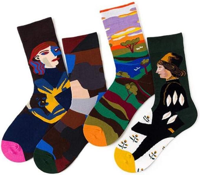 Chalier Pack de 4/5 Mujer Niña Calcetines Originales Ocasionales Estampados Divertidos Impresos de Algodón de Pintura Famosa: Amazon.es: Ropa y accesorios