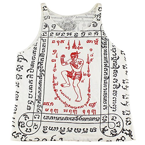 [WORK muay thai tattoo sak yant boxer kickboxing Tank Top White / WK-T13 size M] (Muay Thai Fighter Costume)