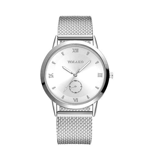 Reloj de malla de mujer, QinMM reloj de cuarzo de acero inoxidable (Plateado): Amazon.es: Relojes