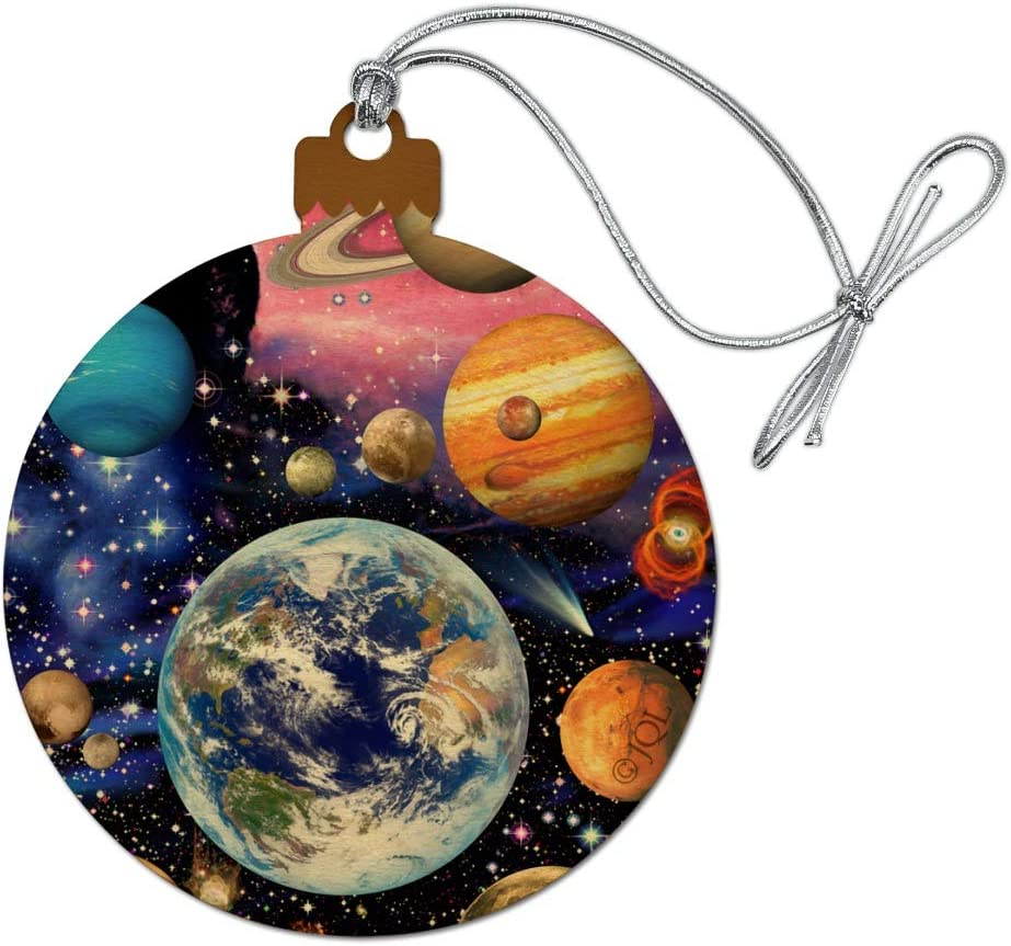 GRAPHICS & MORE Planets Solar System Earth Nebula Wood Christmas Tree Holiday Ornament