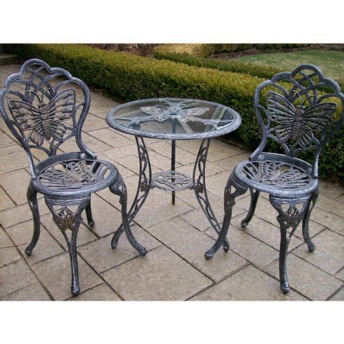 Oakland Living Butterfly Cast Aluminum 24-Inch Glass Top Table with 3-Piece Bistro Set, Antique (3 Piece Glass Top Table)