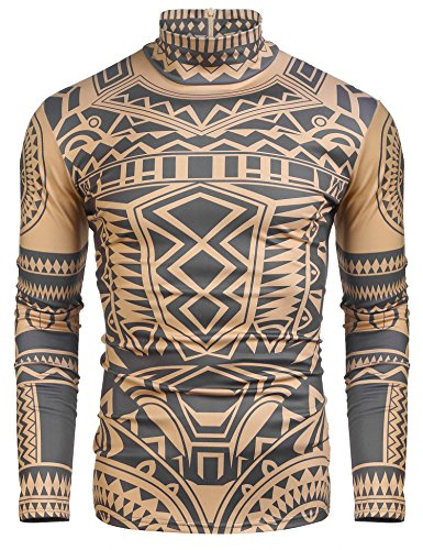 COOFANDY Men's African Tribal Tattoo Thermal Turtleneck Pullover Slim Fit Underwear by COOFANDY (Image #1)
