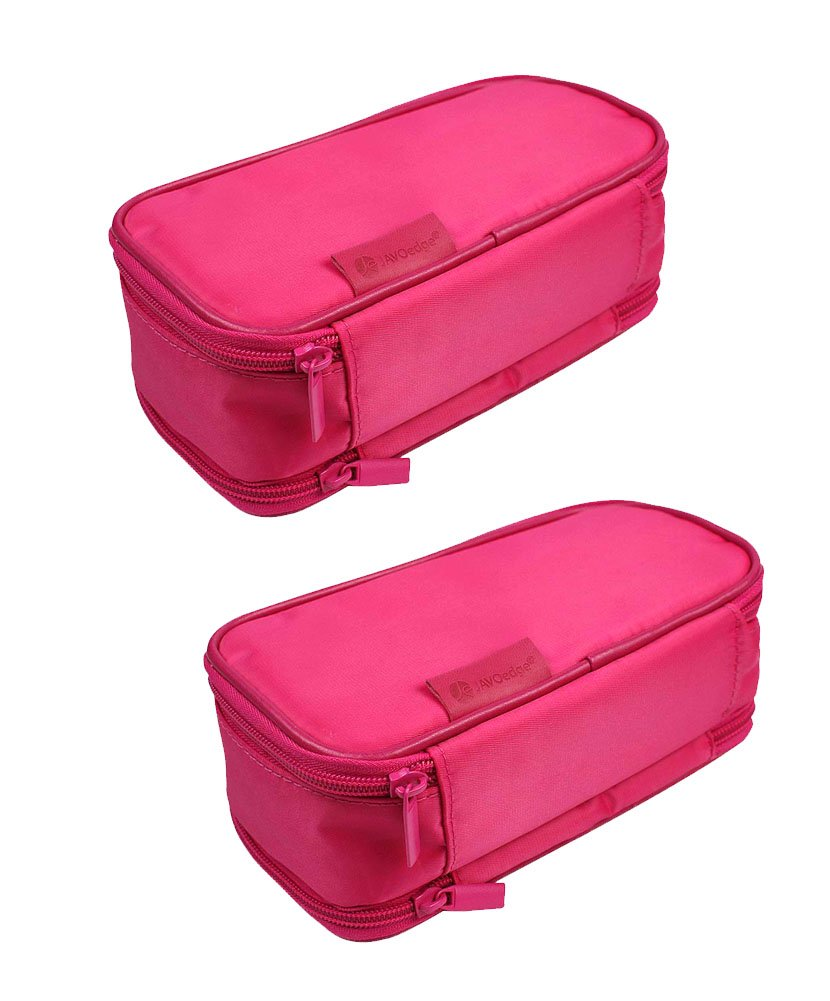 JAVOedge [2 Pack], JE Multi-Function Jewelry Travel Storage Case for Earring, Necklaces, Ring and Makeup Cosmetic Case [Magenta]