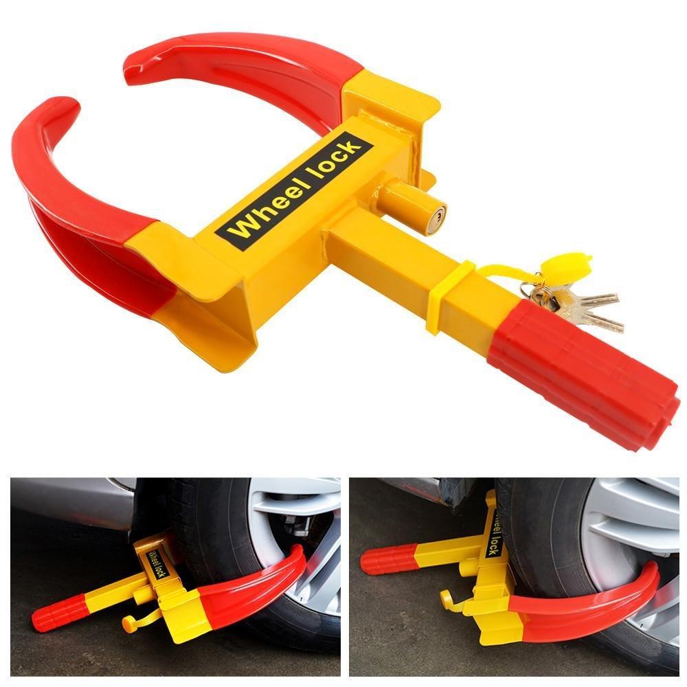 Popamazing Heavy Duty Car Wheel Clamp - Van/Caravan 3 Keys - Unbreakable Security Car Lock