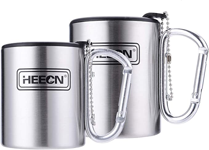 HEECN Stainless Steel Camping Mug Foldable Carabiner Handle with Lid ECO-Friendly HESS-032R