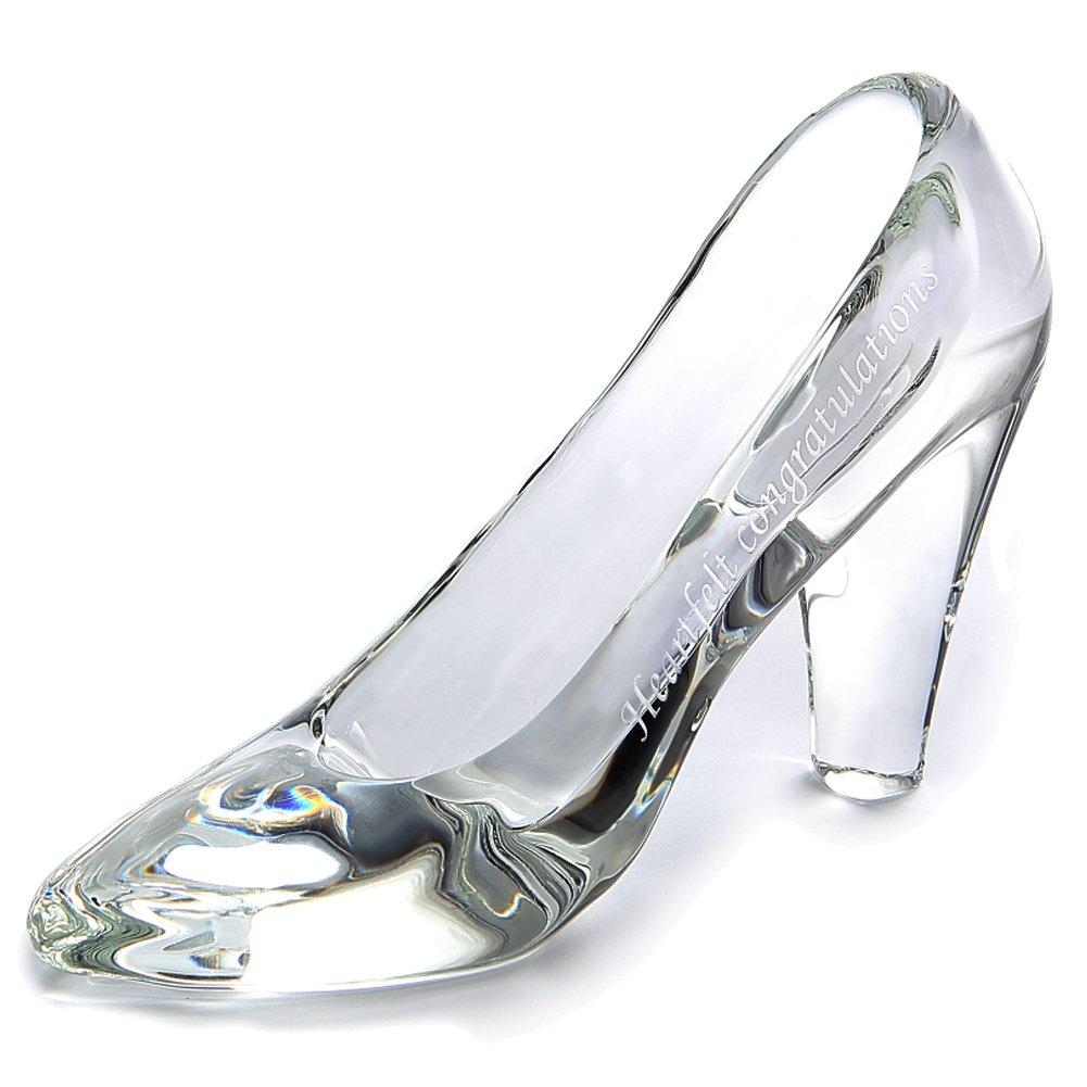 TEATSIGHT ガラスの靴 透明 ガラス製 ハイヒール 彫刻 メッセージ入り (B-03) B06X3YYMWDB-03