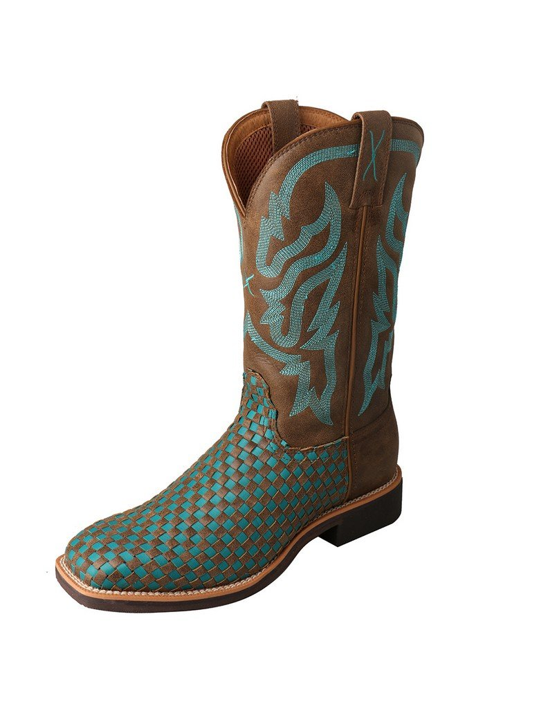 Twisted X Women's Turquoise Basketweave Top Hand Cowgirl Boot Square Toe Brown 11 M US