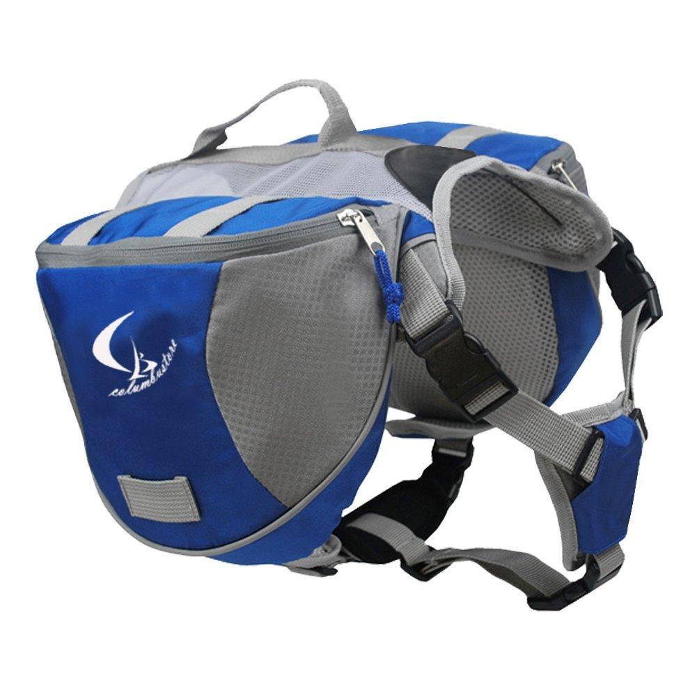 Columbustore Outdoor Adjustable Dog Saddle Bag Large Capacity Dog Backpack with Reflective Stripe (Blue, Medium)