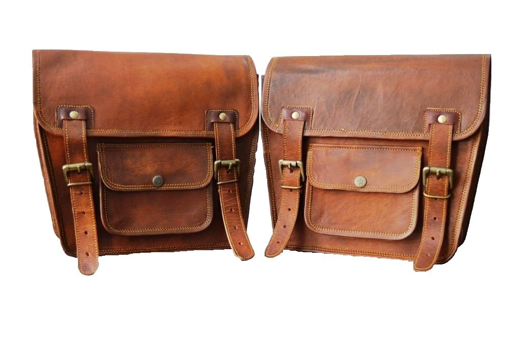 Spot On 2X Motorcycle Brown Leather Side Pouch Saddle bagsPanniers 2 BagsPair