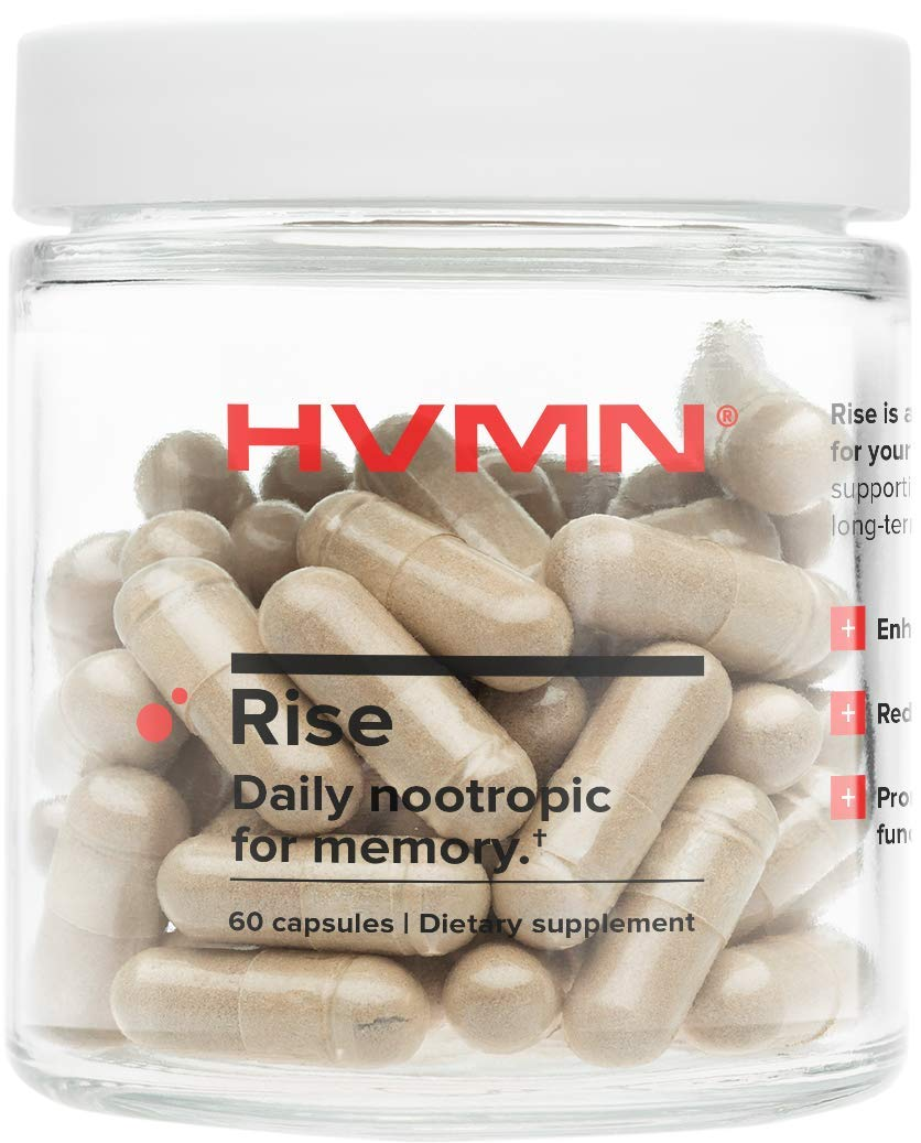 HVMN Rise - Daily Nootropic & Memory Supplement - Bacopa Monnieri, Natural Ashwaghanda Extract, CDP Choline, Citicoline Supplement