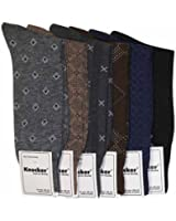 Knocker Men's Assorted 6 Pack Designed Dress Socks Size 10-13