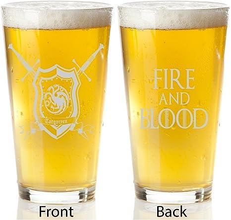 Amazon Com Game Of Thrones Targaryen House Engraved Pint Glass Beer Glasses